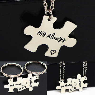 Couple Keychain Set His Always Hers Forever Necklace Gift Puzzle Pendant