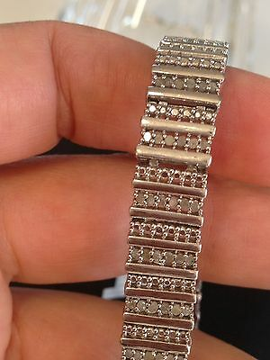 Exquisite Vintage Estate Sterling Silver 925 Genuine Diamond Tennis Bracelet