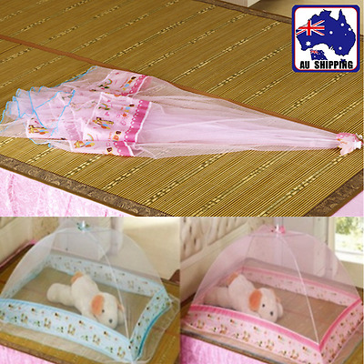 Baby Infant Mosquito Bug Net Portable Folding Foldable Blue Pink BSNE544