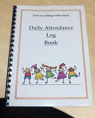 Childminding Daily attendance record book childminding resources childminder A4