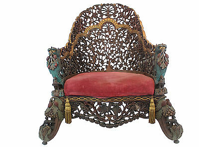 Intricately Hand-Carved Burmese Chair, 1850s