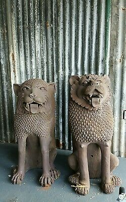 Massive Pair Of Chinese Terracotta Foo Dogs,  Temple Guardians,