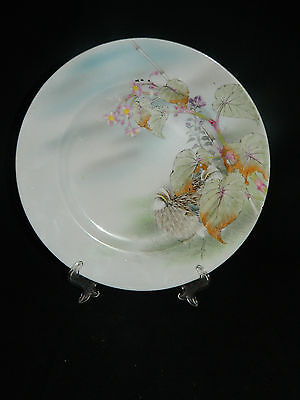 Antique Japanese hand painted pottery plate with birds