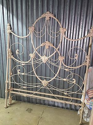Antique Ornate Wrought Iron Double Bed Complete with Rails