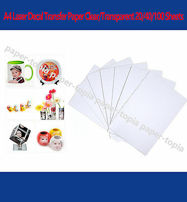 A4 Decal Water Slide Transfer Paper Laser Clear/Transparent 20/40/100 Sheets
