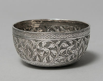 Antique Siamese (Thai) Silver Small Bowl with Kanok Pattern