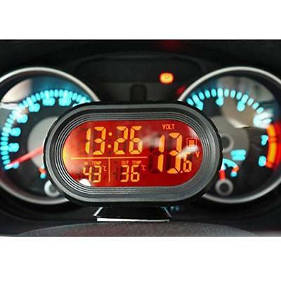 Auto Digital Car Clock Date Indoor Outdoor Thermometer Voltage LCD Monitor