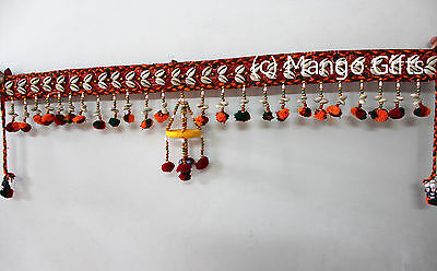 Indian Door Hanging Mirror Work Cotton Window Valance Vintage Toran Decor 36""