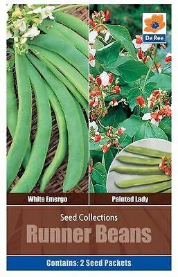 SEED Collection Pack - RUNNER BEANS, White Emergo & Painted Lady VEGETABLE Seeds