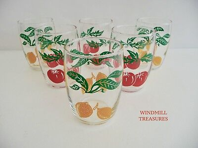 Set Of 6 Vintage French Tumbler Cocktail Glasses With Tomato & Lemon Designs