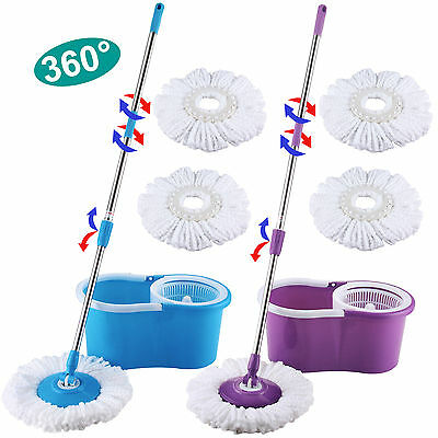 Microfiber Spinning Magic Spin Easy Floor Mop with Bucket 2 Heads 360° Rotating