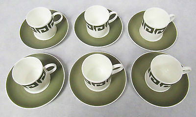 1960s Vintage Susie Cooper Green Keystone China Set 6 Coffee Cans Cups Saucers