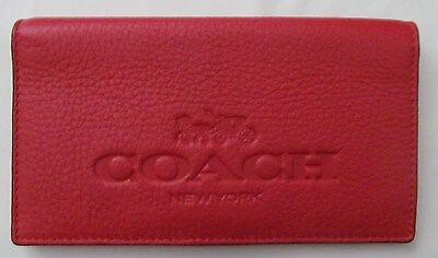 Coach Pebble Leather Checkbook Holder w/ pen loop - true red