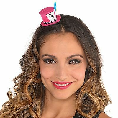 Mad Hatter Mini Pink Top Hat Hairclip Tea Party Wonderland Fancy Dress Alice New