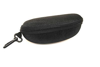 Large Black Sports Sunglasses Spectacle Glasses Case with Clip Soft Lining