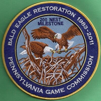 "Pa Pennsylvania Game Fish Commission 2011 6"" 2nd Bald Eagle Reintroduction Patch"
