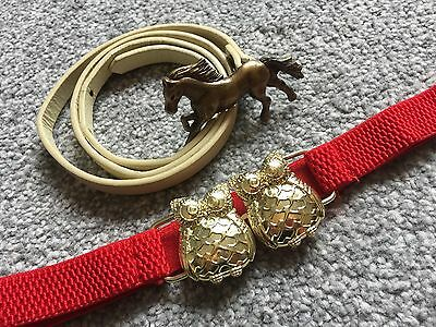 """Girls HORSE Buckle Belt By Next 25-31"""" & Red Elasticated OWL Belt Age 8-12 Yrs"""