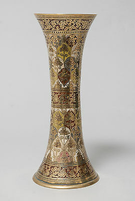 Antique Indian Brass and Multi Colour Enamel Trumpet Vase with Floral Panels