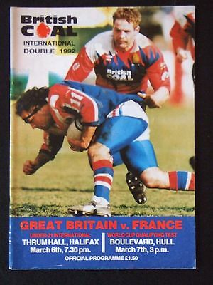 Great Britain v France 6/3/92 + 7/3/92 Double issue
