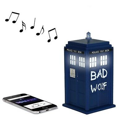 Doctor Who BAD WOLF TARDIS Portable Bluetooth Speaker with LED's and Sound FX