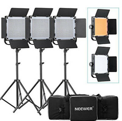 High Power Continuous 40W 576 LED Video Panel Studio Barndoor Lighting w Stand