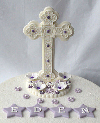 Edible large upright standing cross Christening / Baptism cake topper (lilac )