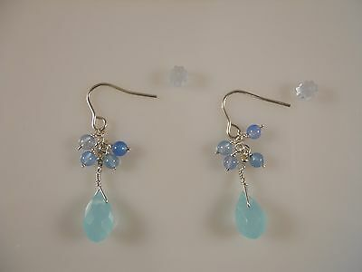 Sterling Silver, Faceted Pear Shape Blue Chalcedony Earrings