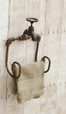 Vintage Rustic Faucet Toilet Paper Towel Holder Country Ranch Farmhouse Decor