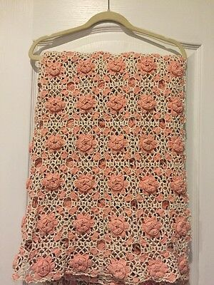 Vintage Hand Crocheted Pink And White Rectangle Tablecloth