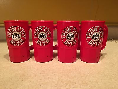 4 Iron City Beer Betras Mugs, 16oz, Bright Red, The No. 1 City's No. 1 Beer!