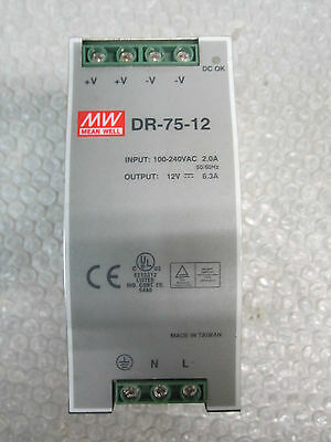 MEAN Well DR-75-12 Power Supply 100-240VAC 2.0A OUTPUT: 12V 6.3A *Fully Tested*