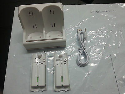 Double Dock For WII Remote Controller LED Recharger Station+2pcs Battery Pack