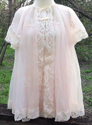 Shadowline Babydoll Lingerie Set PeignoirVtg 60s Pale Pink Lace Sissy Girly Sz S