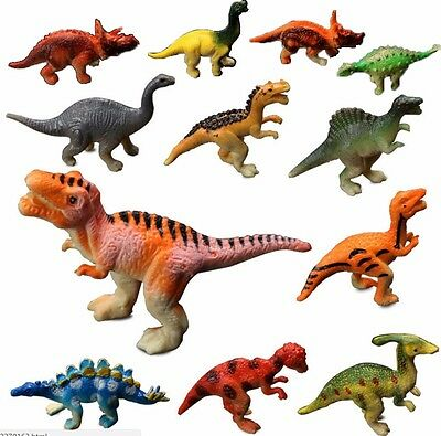 12× Large Assorted Dinosaurs Toys Toy Dinosaur Figures Thick Plastic
