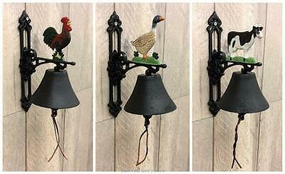 Cast Iron Country Style Door Bell On Bracket Wall Mounted Cow Duck or Rooster