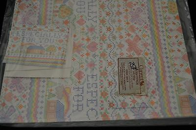 Vtg 80's Current Inc CROSS-STITCH Gift Wrap ESPECIALLY FOR YOU Sealed! HOUSE
