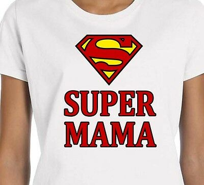 bba7990015 Super Mom Супер Мама Funny Russian T-shirt Mother's Day Gift Tee White Sz S  M L