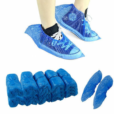 Blue Disposable Plastic Anti Slip Shoe Covers Cleaning Overshoes Protective