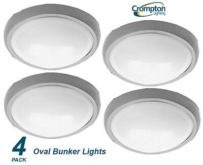 4 x Plain Silver Oval Exterior Bunker Light Outdoor Polycarbonate 145 x 210mm