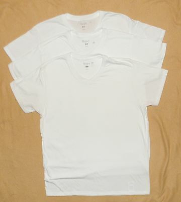 Mens Hanes Cotton VNeck T-Shirts S Small Lot of 3 White NEW
