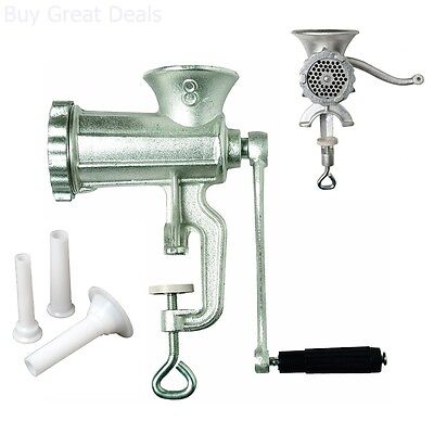 Heavy Duty Manual Tinned Meat Grinder Cast Iron Hand Crank (Clamp Down) 8 - NEW
