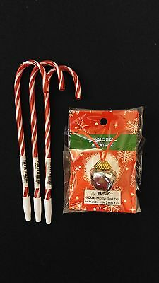 TEACHERS GIFT - SILVER Jingle Bell Necklace + 3 Candy Cane Peppermint Ink Pens