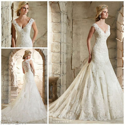 White Ivory Wedding Dress Bridal Gown Size : 4 6 8 10 12 14 16 18