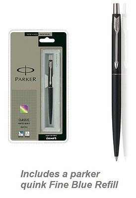 Parker Classic Matte Black Chrome trim with Blue Quink Refill Fine Nib NEW