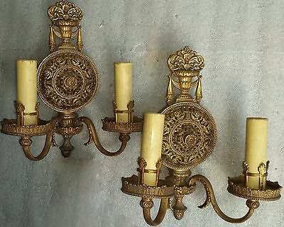 Exceptional pair vtg early 1900s solid brass antique wall sconces  Lion Electric
