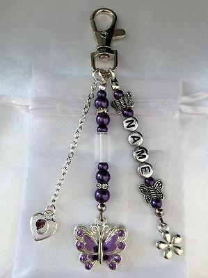 Butterfly Key Ring Bag Charm Mothers Day Teacher Thank You Gift - Any Name