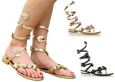 Ladies Womens Flat Ankle Wrap Strappy Toe Post Gladiator Summer Sandals Size