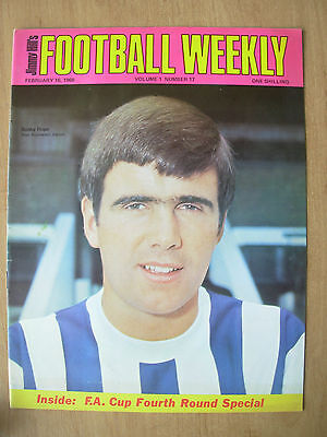 JIMMY HILLS FOOTBALL WEEKLY MAGAZINE FEBRUARY 16th 1968 BOBBY HOPE OF WEST BROM