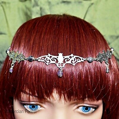 Gothic Bat Headdress - Handmade Goth Jewellery with Larvikite and Amethyst