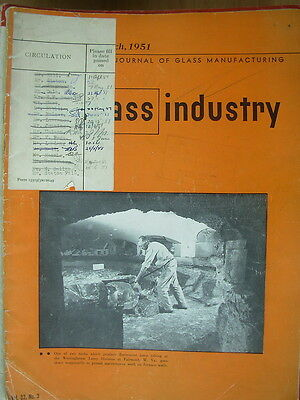 The Glass Industry Vintage Magazine March 1951 Journal Of Glass Manufacturing